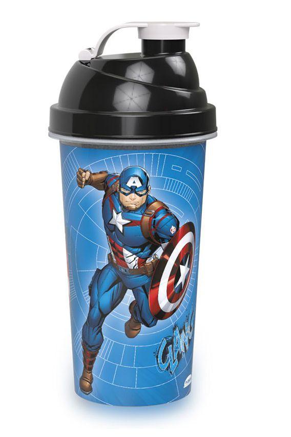 Shakeira de Plástico Cinza Avangers Capitão América - 580ml - 01 unidade - Plasútil - Rizzo Festas