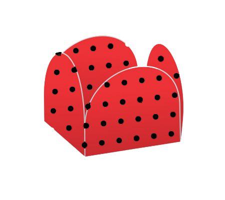 Forminhas para Doces 4 Pétalas Vermelho Poá Preto - 50 unidades - NC Toys Rizzo Embalagens
