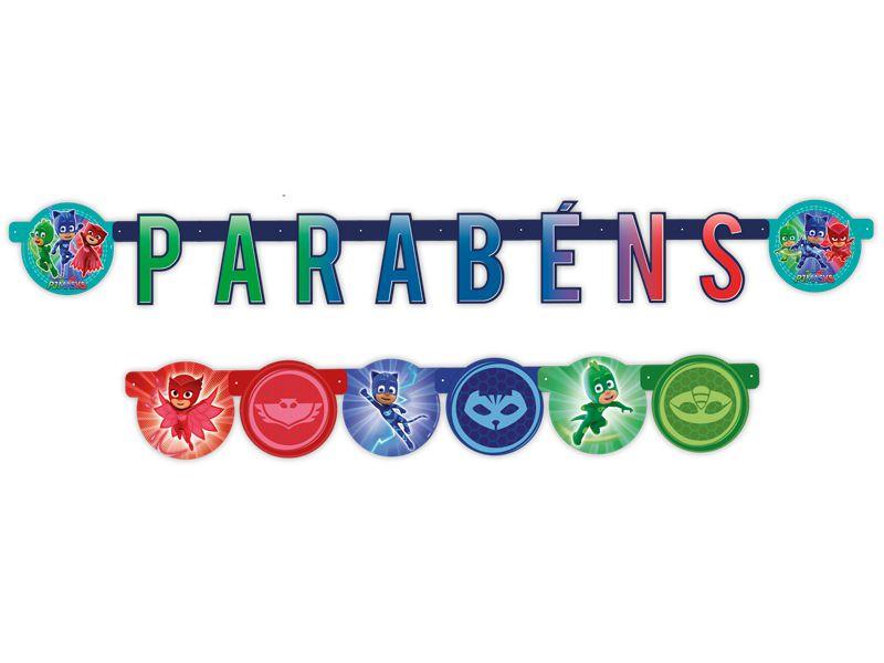 Faixa Parabéns Festa PJ Masks - 01 unidade - Regina - Rizzo Festas