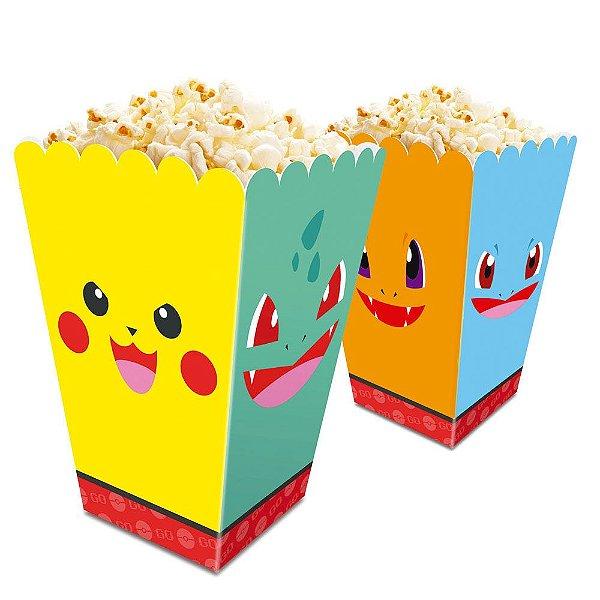 Caixa Pipoca Festa Pokemon - 8,3cm x 8,3cm x 13,3cm - 8 unidades - Junco - Rizzo Festas