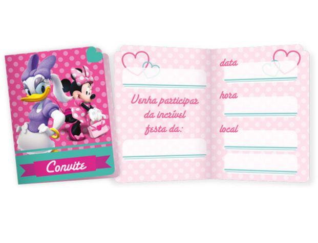 Convite Festa Minnie Rosa - 7,5cm x 10cm - 08 unidades - Regina - Rizzo Festas