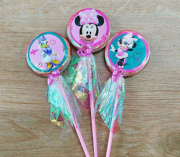 Pirulito Lembrancinha Festa Minnie Rosa - 10 unidades - Rizzo Festas