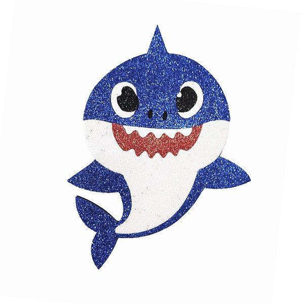 Aplique de EVA Baby Shark Glitter Azul 13 x 11 cm - 01 Unidade - Make Festas Rizzo Festas