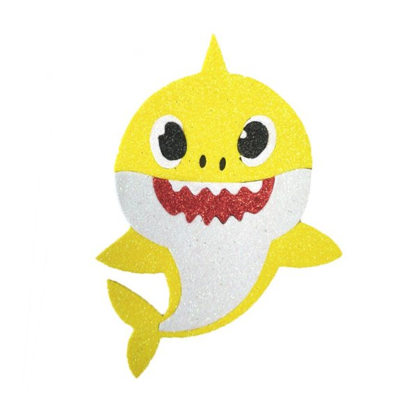 Aplique de EVA Baby Shark Glitter Amarelo 13 x 11 cm - 01 Unidade - Make Festas Rizzo Festas
