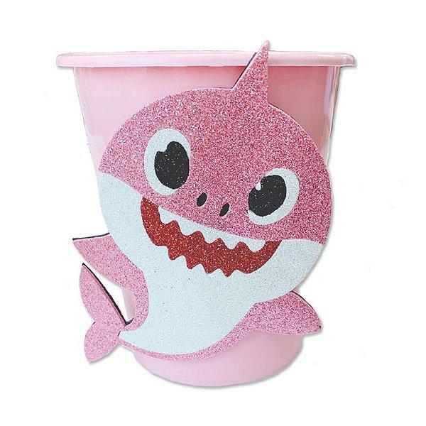 Baldinho Pipoca Rosa Festa Baby Shark - 01 unidade - Rizzo Festas