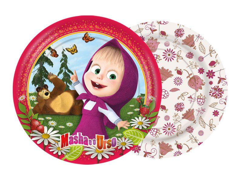 Prato de papel Festa Masha e o Urso 18cm - 8 unidades - Regina - Rizzo Festas