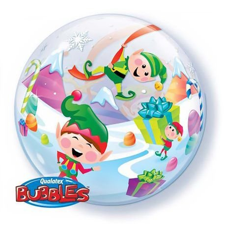 Balão Bubble Transparente Natal - 22'' 56cm - Qualatex - Rizzo festas