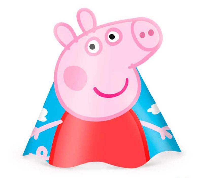 Chapéu Festa Peppa Pig - 08 unidades - Regina - Rizzo Festas