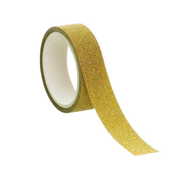Fita Glitter Dourado - 01 unidade - Rizzo Embalagens