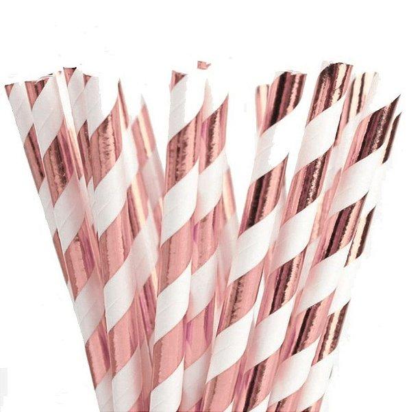 Canudo de Papel Listras Metalizado Rose Gold - 20 unidades - ArtLille - Rizzo Festas