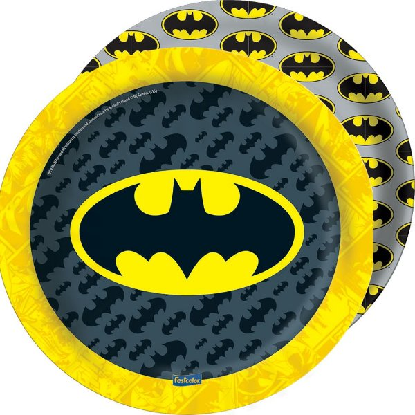 Prato Festa Batman 18cm - 08 unidades - Festcolor - Rizzo Festas