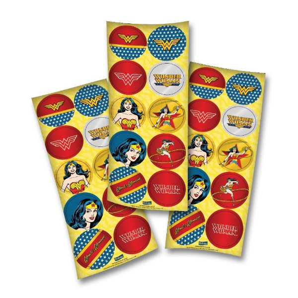 Adesivo Redondo para Lembrancinha Festa Mulher Maravilha - 30 unidades - Festcolor - Rizzo Festas