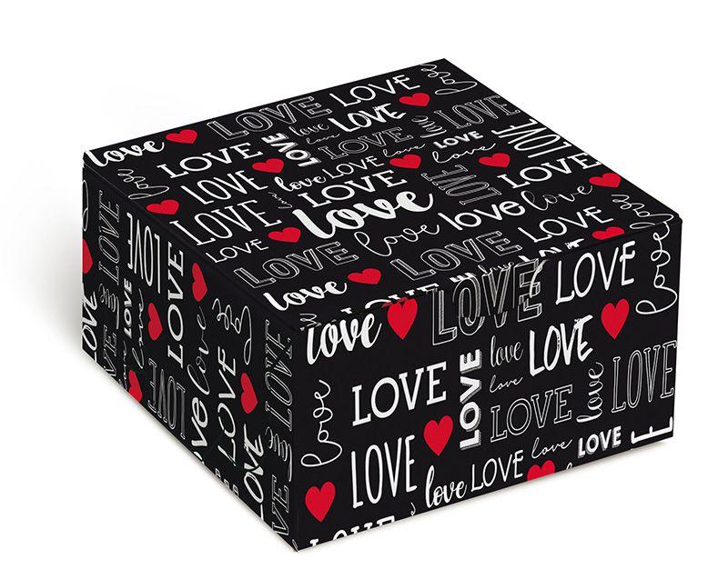 Caixa para 4 brigadeiros 8,5x8,5x3,5cm Love - 10 unidades - Cromus - Rizzo Embalagens