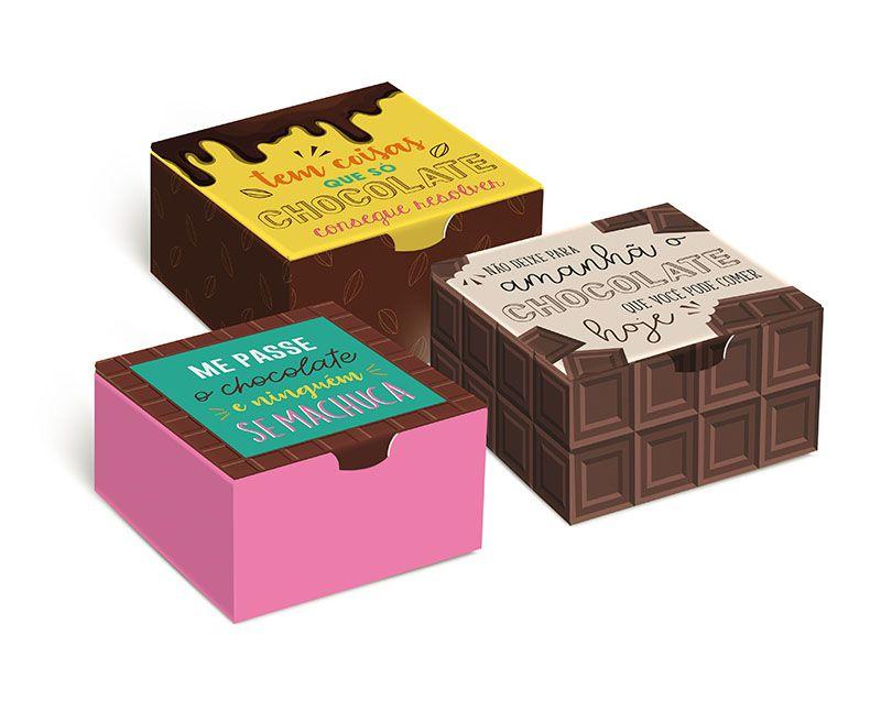 Caixa Divertida 4 Brigadeiros Chocolate Sortido 8,5 x 8,5 x 3,5cm - 10 unidades - Cromus - Rizzo Embalagens