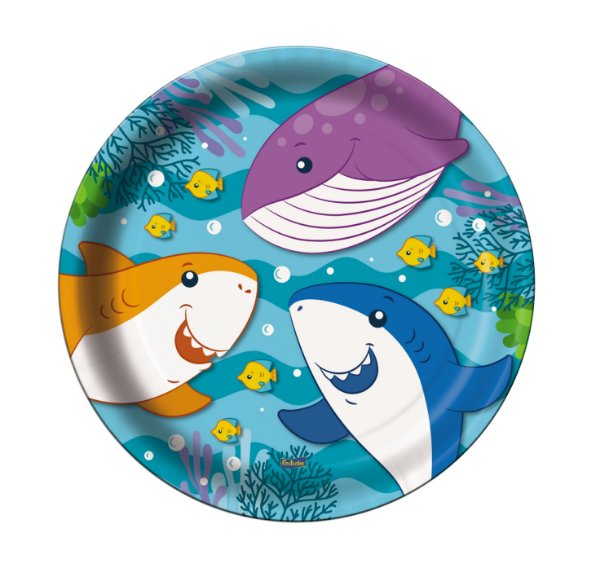 Prato Festa Fundo do Mar 18Cm - 8 unidades - Festcolor - Rizzo Festas