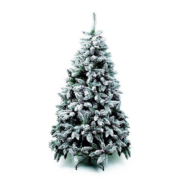 Árvore de Natal Mont Blanc Nevada Verde 2,10m - 01 unidade - Cromus Natal - Rizzo Embalagens