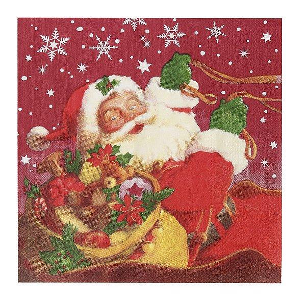 Guardanapo de Papel Noel no Trenó 33cm - 20 folhas - Cromus Natal - Rizzo Embalagens