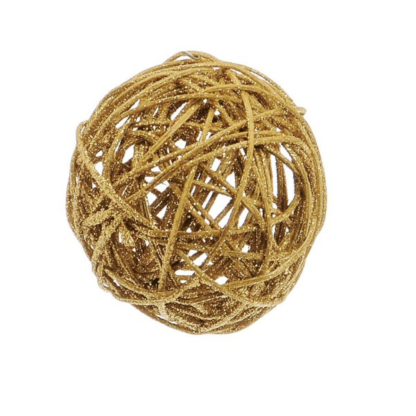 Bola Rattan Ouro 7,5cm - 01 unidade - Cromus Natal - Rizzo Embalagens