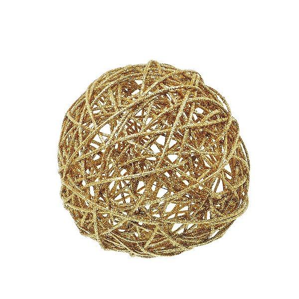 Bola Rattan Ouro 20cm - 01 unidade - Cromus Natal - Rizzo Embalagens