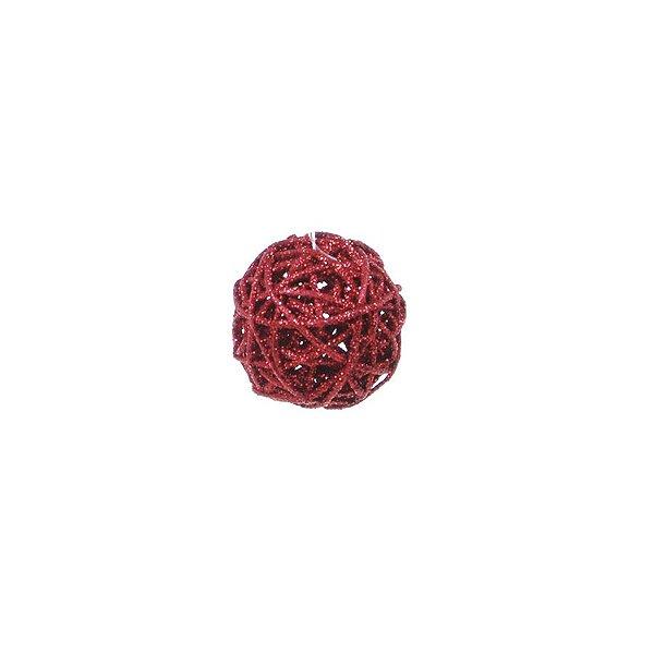 Bola Rattan Vermelho 6cm - 01 unidade - Cromus Natal - Rizzo Embalagens