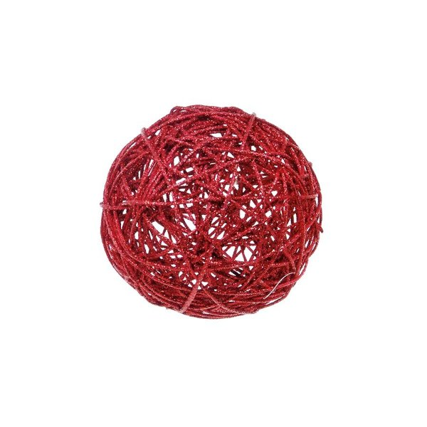 Bola Rattan Vermelho 15cm - 01 unidade - Cromus Natal - Rizzo Embalagens