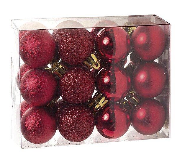 Kit Bolas Texturizadas Brilho Vermelho 3cm - 24 unidades - Cromus Natal - Rizzo Embalagens