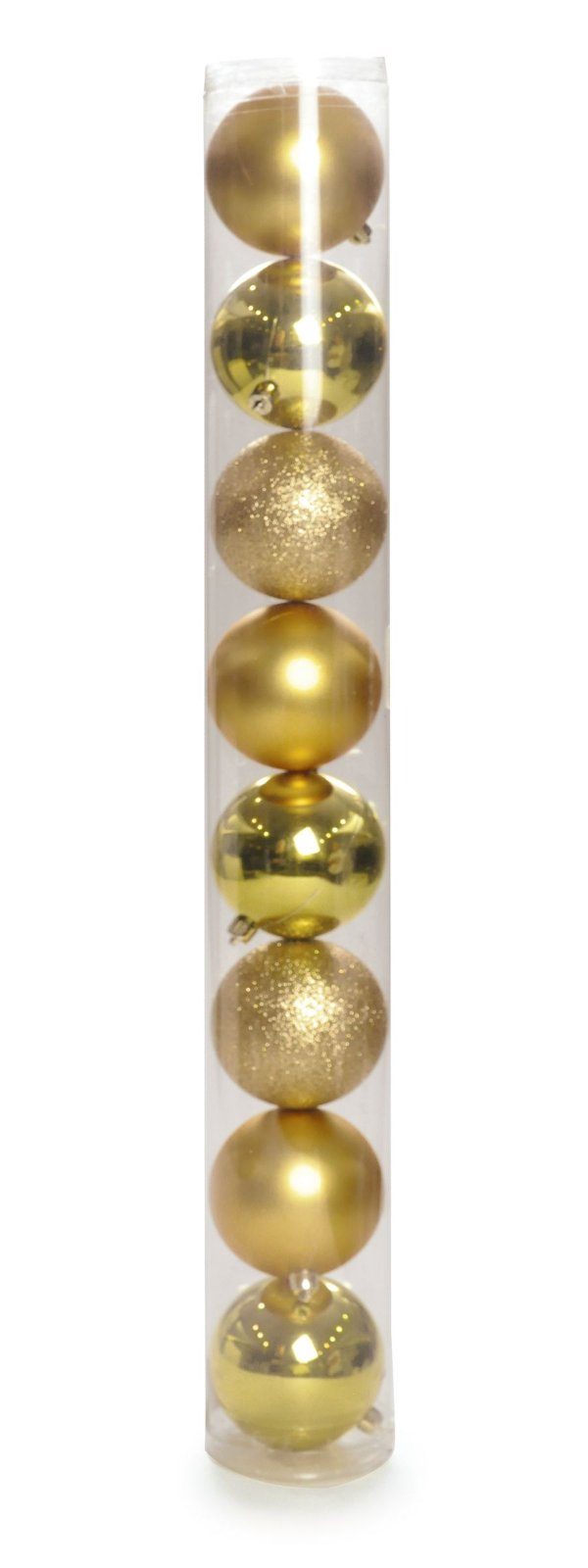 Bolas em Tubo Ouro 5cm - 08 unidades - Cromus Natal - Rizzo Embalagens