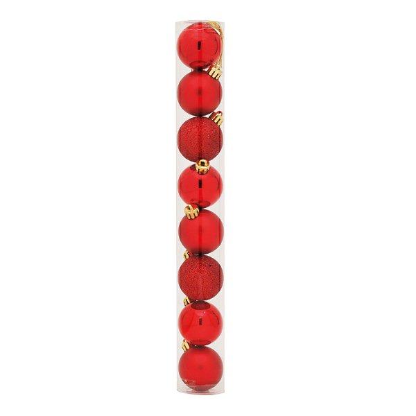 Bolas em Tubo Vermelho 6cm - 08 unidades - Cromus Natal - Rizzo Embalagens