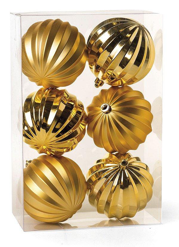 Kit Bolas Texturizadas Gomos Ouro 8cm - 06 unidades - Cromus Natal - Rizzo Embalagens