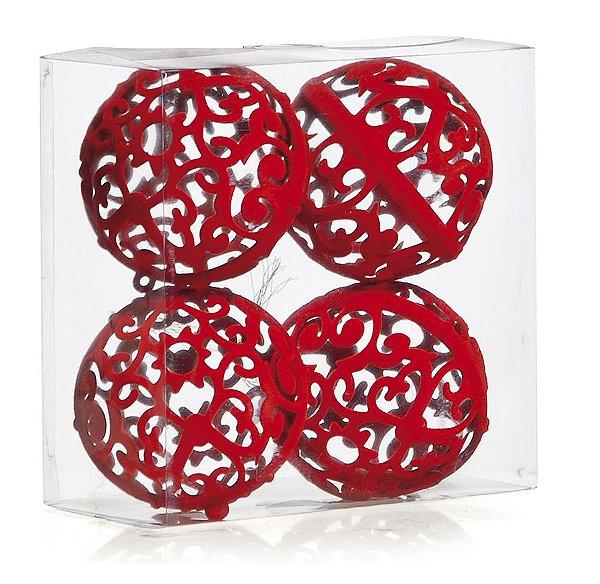 Kit Bolas Texturizadas Arabesco Vazada Vermelho 10cm - 04 unidades - Cromus Natal - Rizzo Embalagens