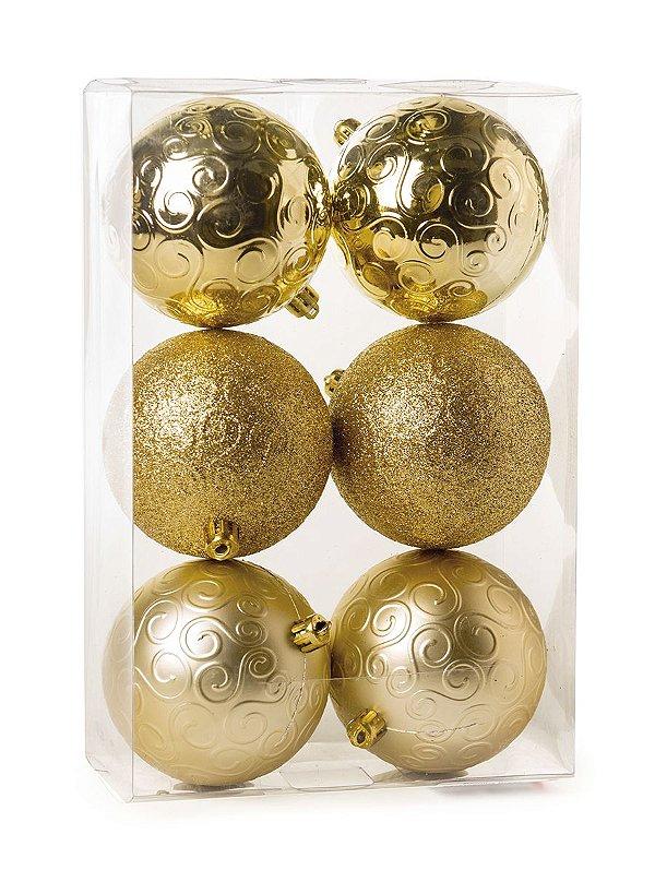 Kit Bolas Texturizadas Arabesco Ouro 8cm - 06 unidades - Cromus Natal - Rizzo Embalagens