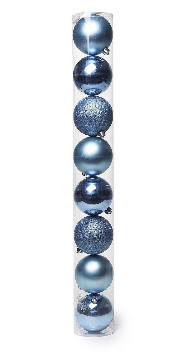 Bolas em Tubo Azul Celeste 6cm - 08 unidades - Cromus Natal - Rizzo Embalagens