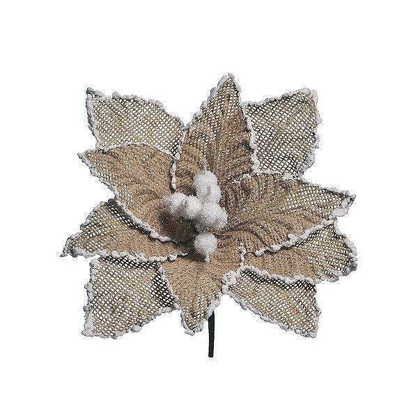 Flor Cabo Curto Natural com Frutos Brancos Nevados 30cm - 01 unidade - Cromus Natal - Rizzo Embalagens