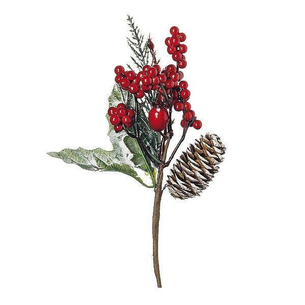 Pick com Galhos Folhas Nevadas Frutas e Pínhas 20cm - 01 unidade - Cromus Natal - Rizzo Embalagens