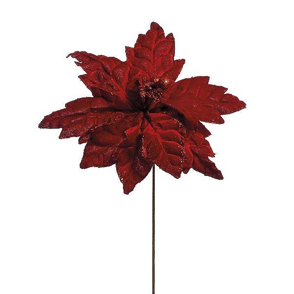Flor Cabo Longo Poinsettia Vermelho Escuro com Borda Glitter 55cm - 01 unidade - Cromus Natal - Rizzo Embalagens