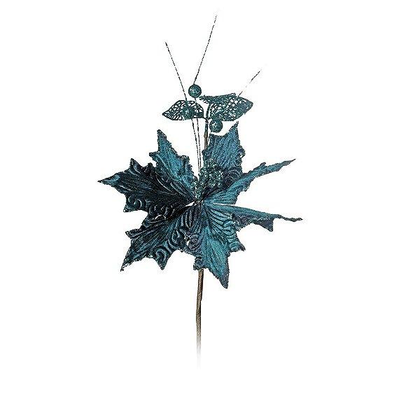 Flor Cabo Médio Turquesa com Frutos e Folhas Glitter 40cm - 01 unidade - Cromus Natal - Rizzo Embalagens