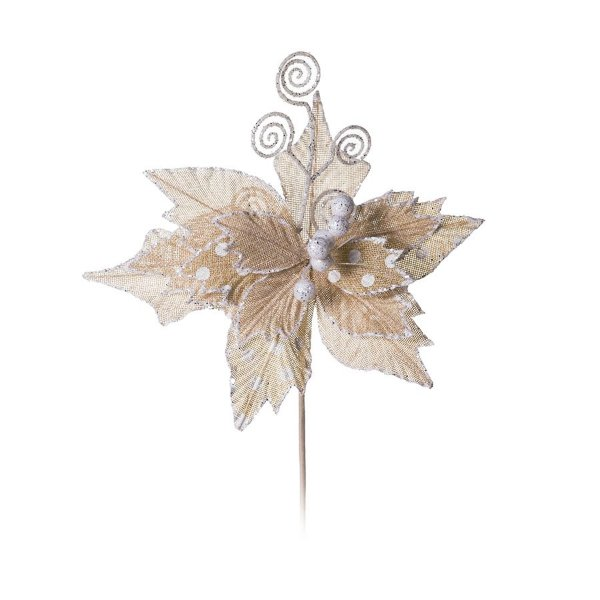 Flor Cabo Médio Marfim e Branco com Glitter 40cm - 01 unidade - Cromus Natal - Rizzo Embalagens