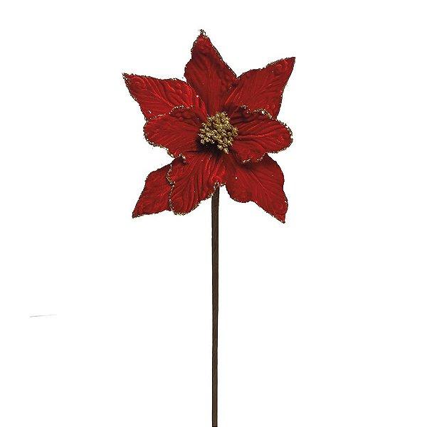 Flor Cabo Curto Vermelho com Glitter Ouro 20cm - 01 unidade - Cromus Natal - Rizzo Embalagens