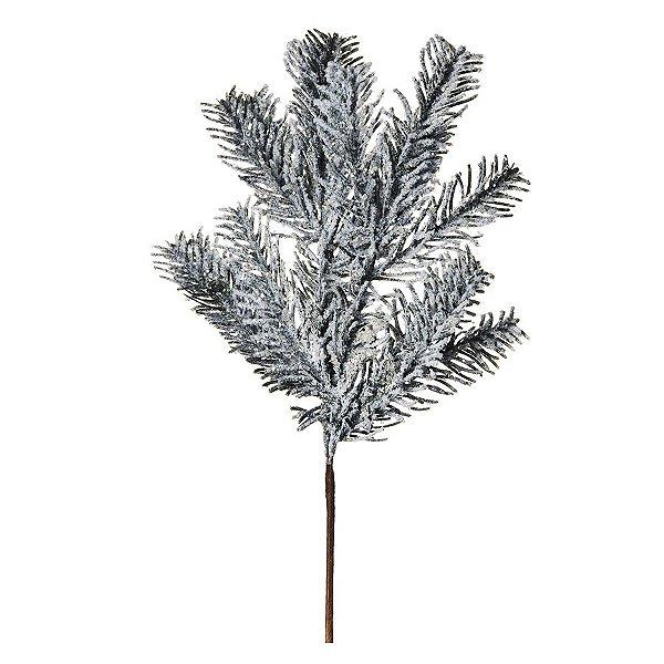 Galho Médio Verde Nevado 40cm - 01 unidade - Cromus Natal - Rizzo Embalagens