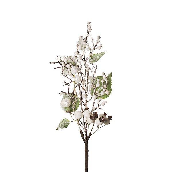 Galho Médio Frutos Folhas Branco e Verde Nevados 35cm - 01 unidade - Cromus Natal - Rizzo Embalagens