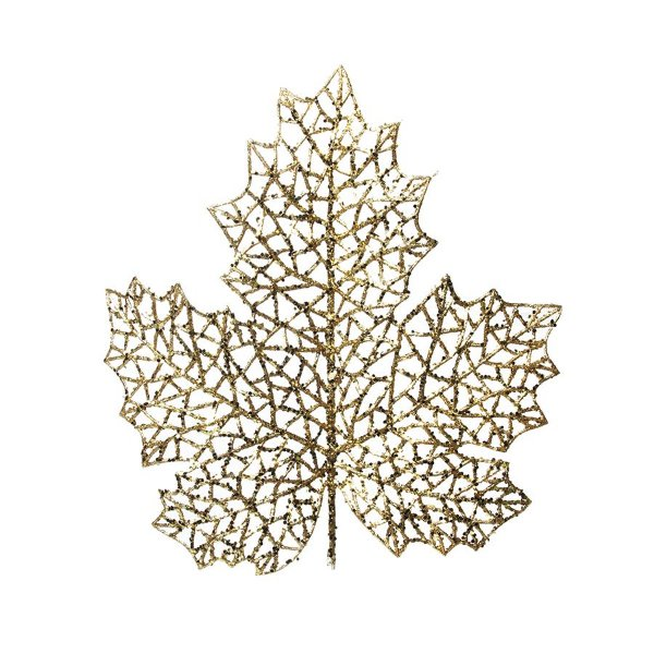 Galho Médio Folha Glitter Ouro 30cm - 01 unidade - Cromus Natal - Rizzo Embalagens