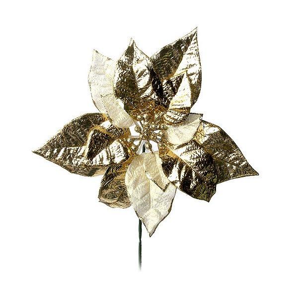 Flor Cabo Curto Poinsettia Dourado Glitter 25cm - 01 unidade - Cromus Natal - Rizzo Embalagens