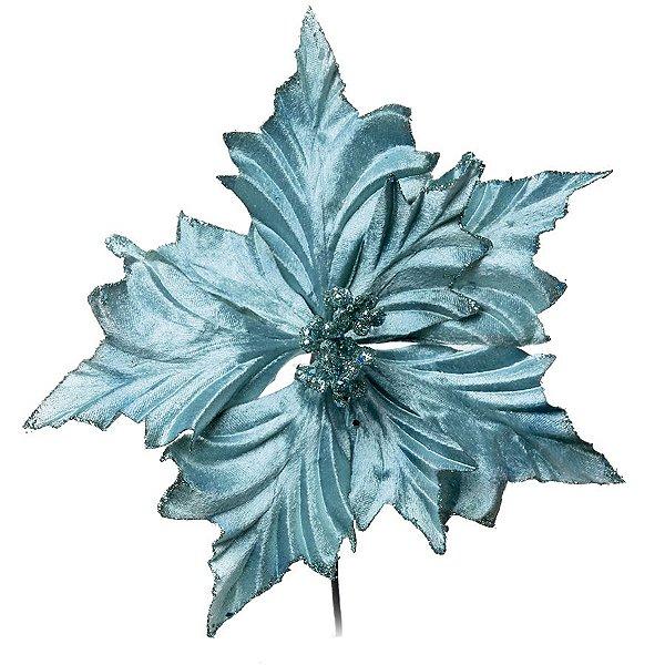Flor Cabo Curto Poinsettia Turquesa 26cm - 01 unidade - Cromus Natal - Rizzo Embalagens