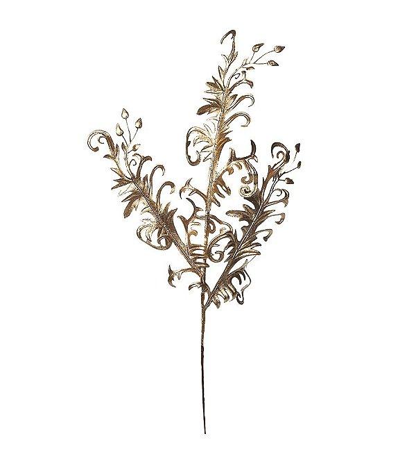 Galho Médio Folhas Dourado 45cm - 01 unidade - Cromus Natal - Rizzo Embalagens