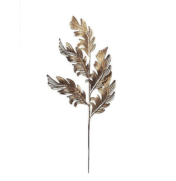 Galho Grande Folhas Arabesco Dourado 59cm - 01 unidade - Cromus Natal - Rizzo Embalagens