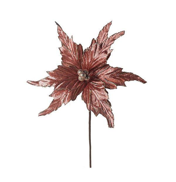 Flor Cabo Médio Poinsettia Veludo Rosa Velho 40cm - 01 unidade - Cromus Natal - Rizzo Embalagens