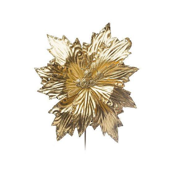 Flor Cabo Curto Poinsettia Dourado com Borda Glitter 25cm - 01 unidade - Cromus Natal - Rizzo Embalagens