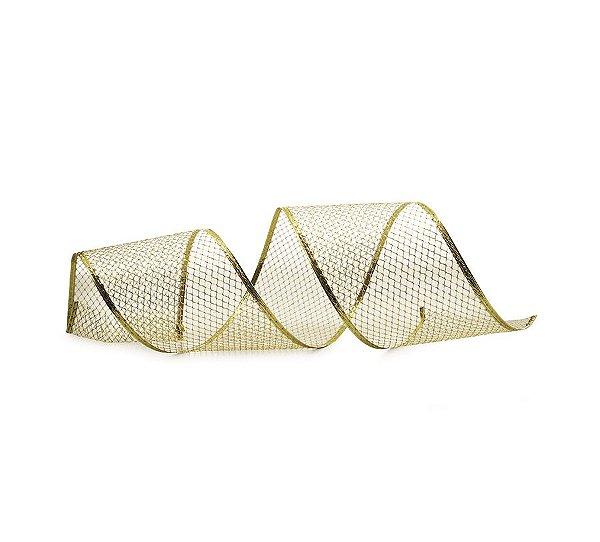 Fita Tela Dourada 10cm - 01 unidade 10m- Cromus Natal - Rizzo Embalagens
