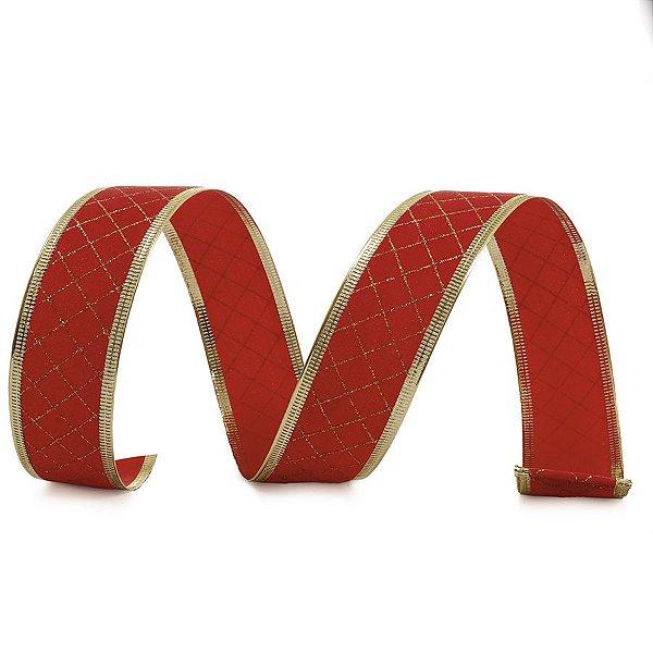 Fita Veludo Quadriculada Vermelho e Ouro 6,3cm - 01 unidade 10m- Cromus Natal - Rizzo Embalagens