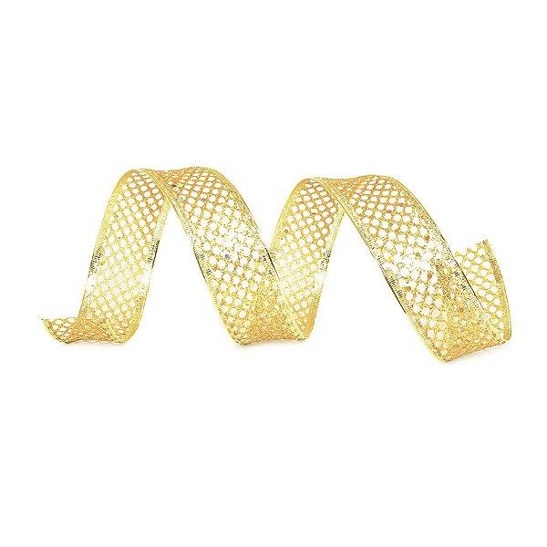 Fita Tela Dourada Brilhante 3,8cm - 01 unidade 10m- Cromus Natal - Rizzo Embalagens